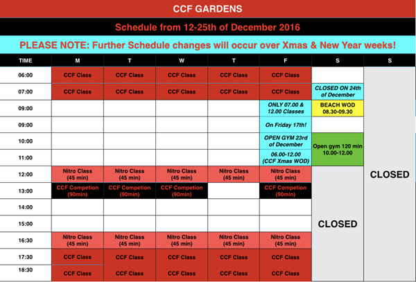 CCF Schedule over