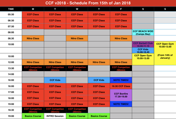New Schedule for CCF v2018 - welcome to Cape CrossFit HQ!